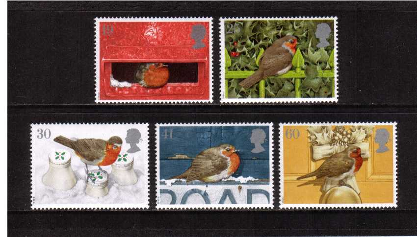 view larger image for SG 1896-1900 (1995) - Christmas - Robin Birds set of five