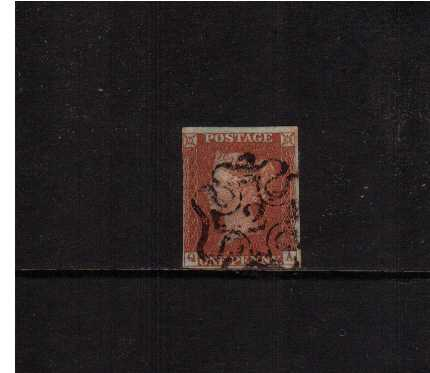 view larger image for SG 8m (1841) - 1d Red Brown lettered 'Q-A'<br/>cancelled with an upright Maltese Cross with a number '2' in centre. A good four margined stamp, close at left but just clear. SG Cat �180