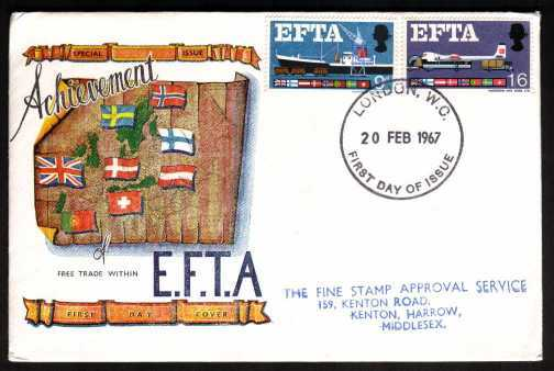 view larger back view image for EFTA (European Free Trade Association) <b>PHOSPHOR</b> set of two on  CONNOISSEUR colour FDC with handstamped address  cancelled with a LONDON WC FDI cancel dated 20 FEB 1967.