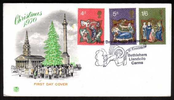 view larger back view image for Christmas set of three on unaddressed STUART FDC with BETHLEHEM special cancel dated 25 NOV 70.