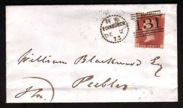 view larger front view of image for 1d Rose-Red from Plate 143 lettered 'K-I' on a small neat envelope cancelled with an EDINBURGH 'dotted circle' stated to be Type A9, Code 14 W to PEEBLES dated DE 2 73