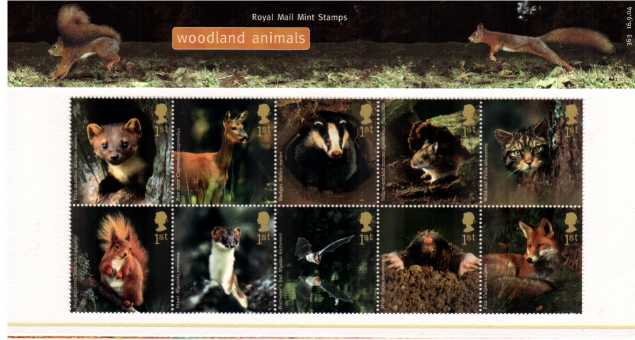 Stamp Image: view larger back view image for Woodland Animals<br/><br/>