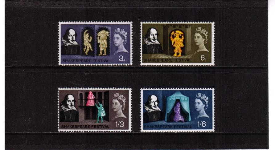 view larger image for SG 646p-649p (1964) - Shakespeare Festival PHOSPHOR set of four
