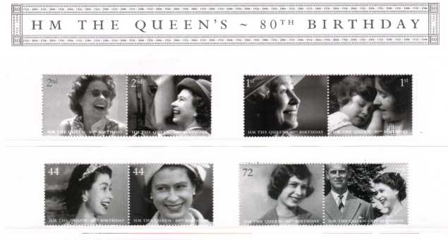 Stamp Image: view larger back view image for The Queen's 80th Birthday<br/><br/>