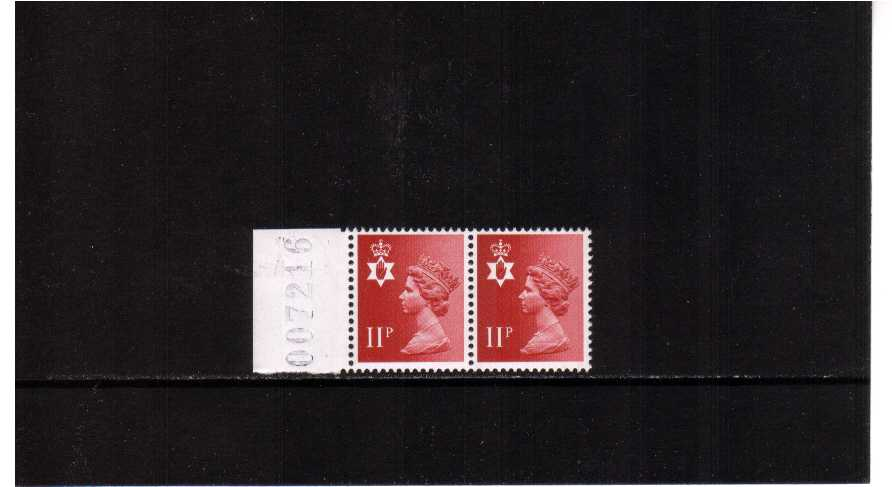 view larger image for SG NI30Ey (1976) - <b>NORTHERN IRELAND</b> 11p Scarlet. Left side marginal pair showing MISSING PHOSPHOR on left stamp superb unmounted mint. Scarce in pair with normal.