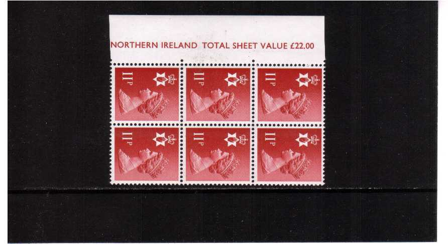 view larger image for SG NI30Ey (1976) - <b>NORTHERN IRELAND</b> 11p Scarlet. Left side marginal block of six showing MISSING PHOSPHOR on left side stamps superb unmounted mint with full marginal inscription. Scarce in pair with normal.