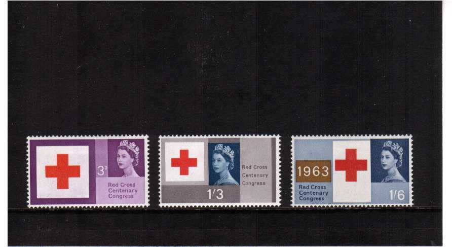 view larger image for SG 642p-644p (1963) - Red Cross Centenary PHOSPHOR set of three