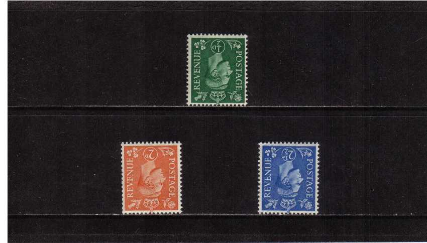 view larger image for SG 485Wi-489Wi (1941) - George 6th<br/>'Light Colours' Definitive set of three<br/> INVERTED watermark