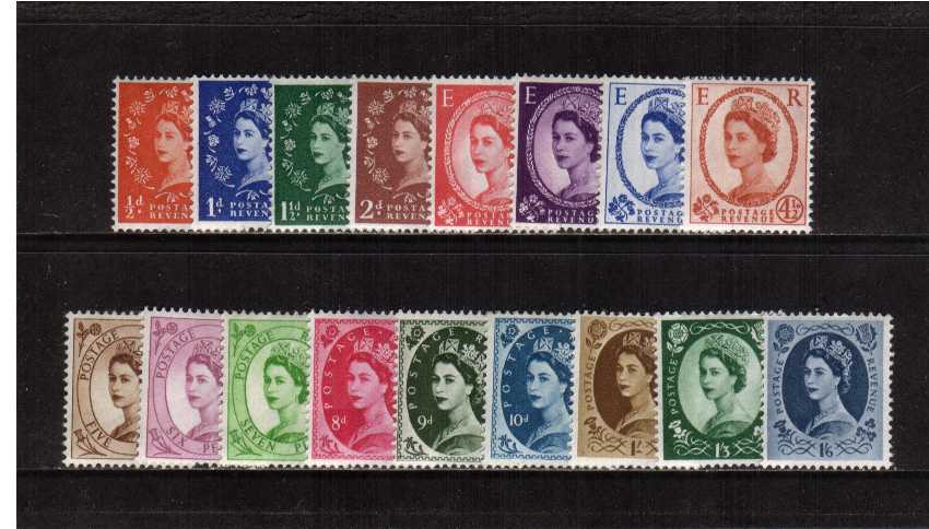 view larger image for SG 570-586 (1958) - Elizabeth II <br/>Wilding - Multiple Crowns Watermark<br/> Definitive set of seventeen