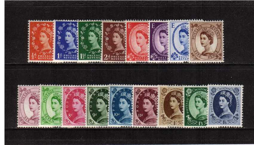 view larger image for SG 515-531 (1952) - Elizabeth II <br/>Wilding - Tudor Crown Watermark <br/>Definitive set of seventeen