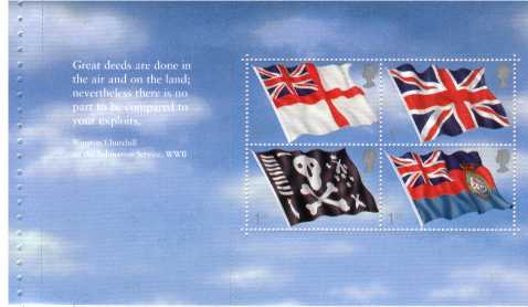 view larger image for SG MS2206a (22 Oct 2001) - Submarine Service - Flags minisheet from Prestige Stamp Booklet (DX27)