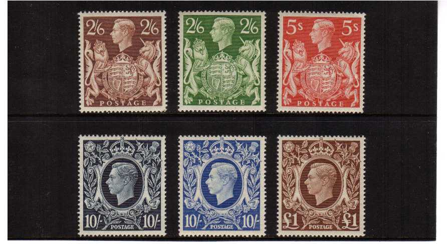view larger image for SG 476-478b (1939) - George 6th<br/>'Arms' High values Definitive set of six
