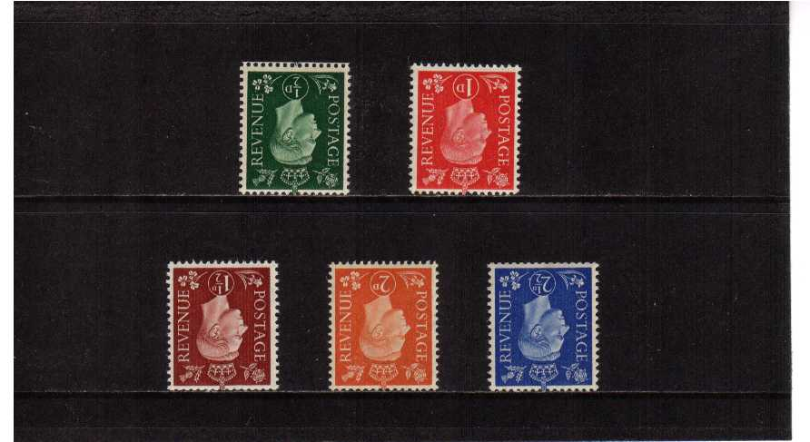 view larger image for SG 462Wi-466Wi (1937) - George 6th <br/>'Dark Colours' Definitive set of five <br/> INVERTED watermark