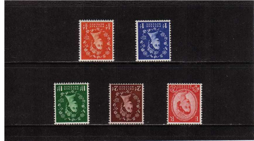 view larger image for SG 515Wi-519Wi (1952) - Elizabeth II <br/>Wilding - Tudor Crown Watermark <br/>Definitive set of five <br/>INVERTED watermark