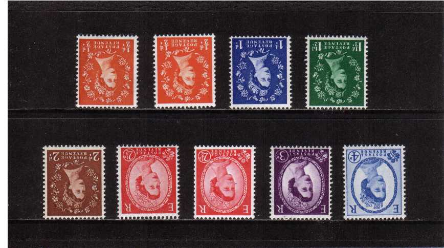 view larger image for SG 570Wi-576Wi (1958) - Elizabeth II <br/>Wilding - Multiple Crowns Watermark<br/>Definitive set of nine <br/> INVERTED watermark