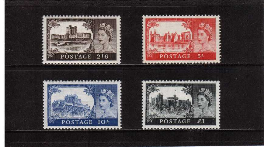 view larger image for SG 536a-539a (1958) - Elizabeth II <br/> 'Castles' by De La Rue <br/>Edward Crown watermark <br/>Definitive set of four