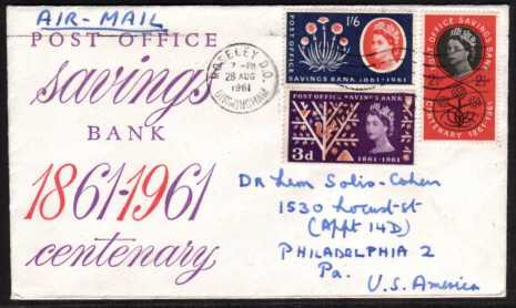 view larger back view image for Post Office Savings Bank set of three on illustrated FDC cancelled with a a BIRMINGHAM wavy line cancel with handwritten address to USA.