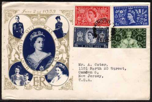 view larger back view image for Coronation set of four on illustrated FDC with cancelled with a single firm strike of the WINDSOR - BERKS double ring CDS. Very neat typed address to USA. A stunning cover, rare so fine.