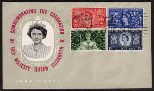 view larger back view image for Coronation set of four on UNADDRESSED illustrated FDC with cancelled with the 'LONG LIVE THE QUEEN' slogan from UCKFIELD - SUSSEX. Note the cover has a Blue-Grey colour except for the unprinted area around the Queen's head.