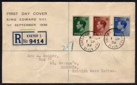 view larger back view image for King Edward 8th  - �d, 1�d and 2�d values on Registered printed cachet FDC to BERMUDA cancelled with two crisp steel CDS's dated 1 SP 36 - QUEEN STREET - EXETER - DEVON. A royal related cancel!!