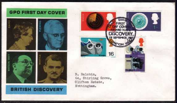 view larger back view image for British Discovery and Invention set of four on official GPO typed address FDC cancelled with the HMS DISCOVERY special cancel dated 19 SEPTEMBER 1967.