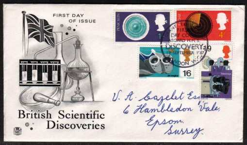 view larger back view image for British Discovery and Invention set of four on a STUART  hand addressed FDC cancelled with the scarce HMS DISCOVERY special cancel dated 19 SEPTEMBER 1967.