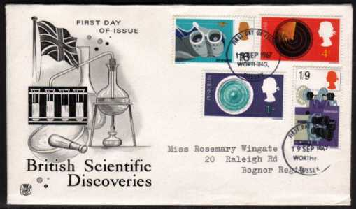 view larger back view image for British Discovery and Invention set of four on Stuart typed address FDC cancelled with two strikes of a WORTHING - SUSSEX FDI cancel dated 19 SEP 1967