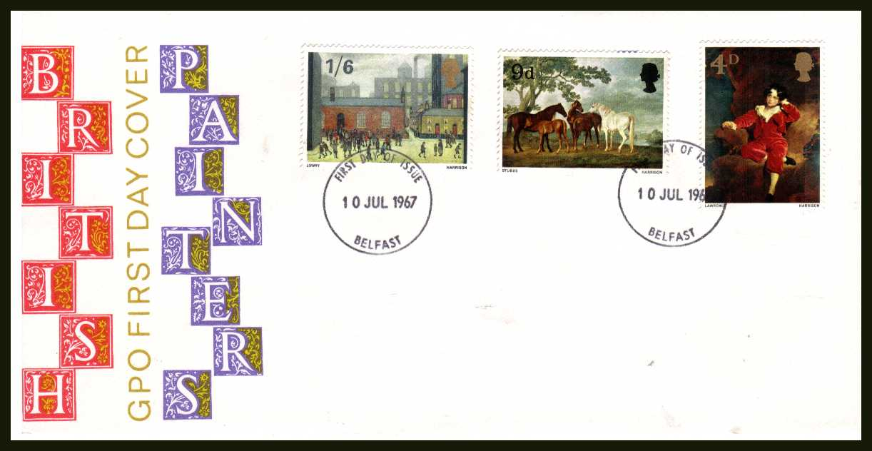 view larger back view image for British Paintings set of three on illustrated official UNADDRESSED GPO colour FDC cancelled with two BELFAST FDI handstamps dated 10 JUL 1967.