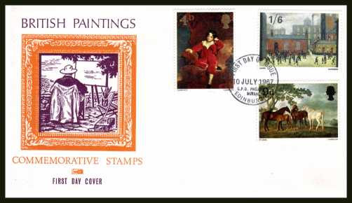 view larger back view image for British Paintings set of three on illustrated unaddressed PHILART colour FDC cancelled with GPO PHILATELIC BUREAU - EDINBURGH handstamp dated 10 JULY 1967