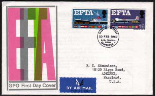 view larger back view image for EFTA (European Free Trade Association) on an illustrated offical GPO colour FDC cancelled with GPO PHILATELIC BUREAU - EDINBURGH handstamp dated 20 FEB 1967.