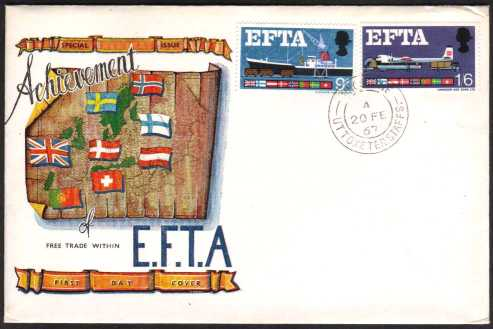 view larger back view image for EFTA (European Free Trade Association) on illustrated UNADDRESSED CONNOISSEUR colour FDC cancelled with UTTOXETER - STAFFS CDS cancel dated 20 FE 67.