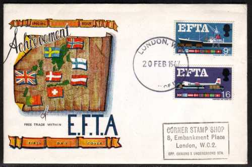 view larger back view image for EFTA (European Free Trade Association) <b>PHOSPHOR </b> on CONNOISSEUR handstamp address on illustrated colour FDC cancelled with  LONDON W.C. handstamp dated 20 FEB 1967.