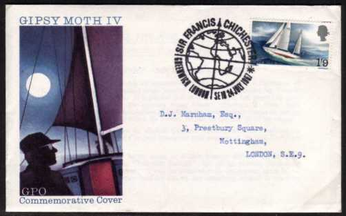 view larger back view image for Sir Francis Chichester on illustrated typed address official GPO FDC cancelled with the special GLOBE - GREENWICH SE10 cancel dated 24 JULY 1967.