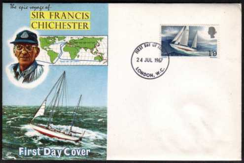 view larger back view image for Sir Francis Chichester's World Voyage single on CONNOISSEUR UNADDRESSED illustrated FDC cancelled with a LONDON W.C. FDI dated 24 JUL 1967.