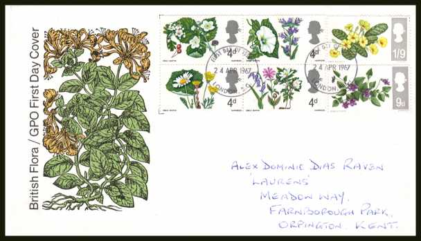 view larger back view image for British Wild Flowers <b>PHOSPHOR</b> set of six on official GPO illustrated colour FDC with handwritten address cancelled with two LONDON E.C. FDI's dated 24 APR 1967.