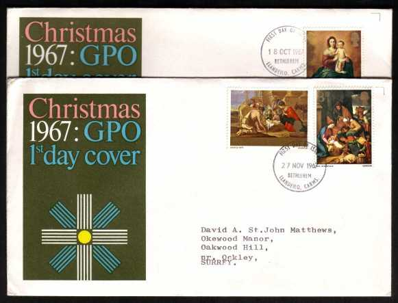 view larger back view image for Christmas set of three on two official GPO illustrated colour FDC's (matched pair cancel and address) typed address each cancelled with BETHLEHEM - CARMS FDI's