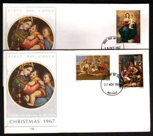 view larger back view image for Christmas set of three on two illustrated colour PHILART FDC's (matched pair) UNADDRESSED each cancelled with BELFAST  FDI's
