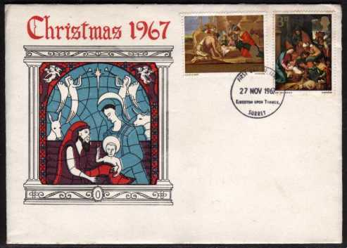 view larger back view image for Christmas 3d and 1/3d on  illustrated colour FDC unaddressed cancelled with KINGSTON UPON THAMES FDI dated 27 NOV 1967.  Rare design.