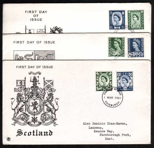 view larger back view image for Matched set of three STUART illustrated and typed address (identical addresses) set of three cancelled with relevant capital CDS's dated 1 MAR 1967