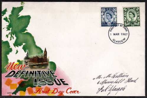 view larger back view image for SCOTLAND 9d and 1/6d on CONNOISSEUR FDC with neat hand written address cancelled with GLASGOW  FDI dated 1 MAR 1967.