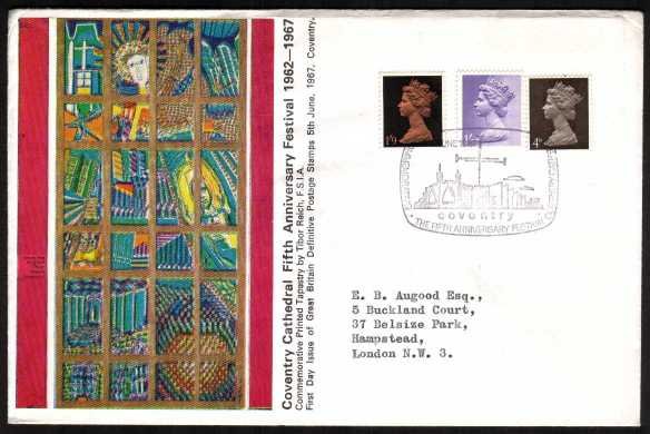 view larger back view image for Machin - 4d, 1/- and 1/9d on OFFICIAL Coventry Cathedral colour FDC with typed address cancelled with special COVENTRY CATHEDRAL handstamp.
