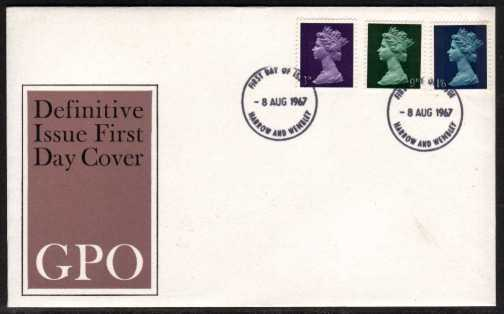 view larger back view image for Machin - 3d 9d 1/6d on official GPO UNADDRESSED illustrated FDC cancelled with two strikes of HARROW & WEMBLEY FDI's dated 8 AUG 1967.
