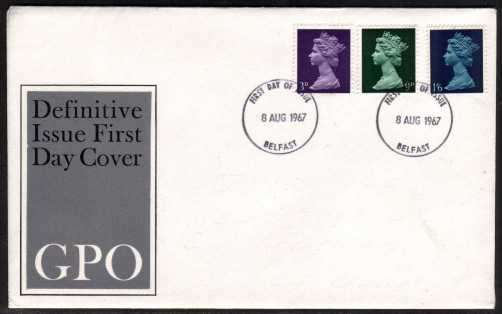 view larger back view image for Machin - 3d 9d 1/6d on official GPO UNADDRESSED illustrated FDC cancelled with two strikes of BELFAST FDI's dated 8 AUG 1967