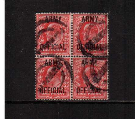 view larger image for SG O49 (1902) - 1d Scarlet overprinted 'ARMY OFFICIAL' in a good sound used block of four SG Cat �20