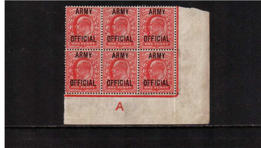 view larger image for SG O49 (1902) - 1d Scarlet overprinted 'ARMY OFFICIAL' an a SE corner block of six showing the Control 'A' and Continuous Marginal Rule but with only a little gum.SG Cat for Control single  �180