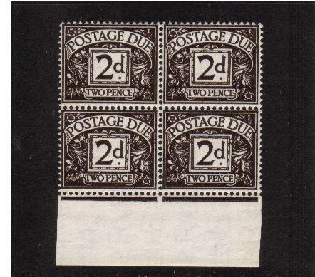view larger image for SG D41 (1955) - 2d Agate - Watermark Tudor Crown in a supern unmounted mint lowere marginal block of four. SG Cat �104