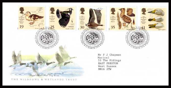 view larger back view image for Wildfowl and Wetlands Trust set of five on a neatly typed addressed official Royal Mail  FDC cancelled with the alternative FDI cancel for SLIMBRIDGE dated 12 MARCH 1996.