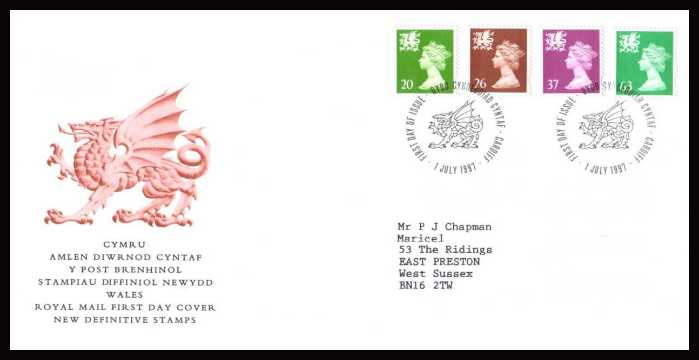 view larger back view image for WALES - 20p to 63p but WITHOUT 'P' on a neatly typed addressed official Royal Mail FDC cancelled with a CARDIFF FDI cancel dated 1 JULY 1997