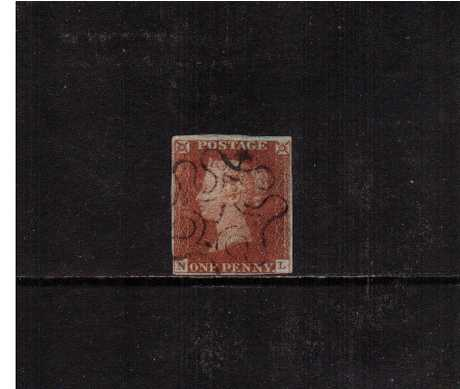 view larger image for SG 8m (1841) - 1d Red Brown lettered ''N-L''<br/>Almost four margined stamp cancelled with a an almost upright Maltese Cross with a number ' 1' in centre.<br/> SG Cat �180