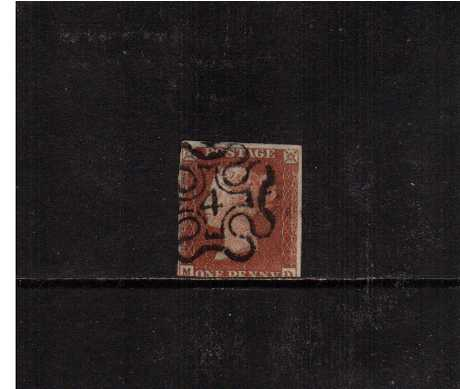 view larger image for SG 8m (1841) - 1d Red Brown lettered 'M-D ' cancelled with a Maltese Cross with a number '4' in centre. SG Cat �425